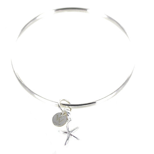 Sterling silver starfish charm bangle