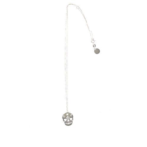 Sterling silver sugar skull necklace