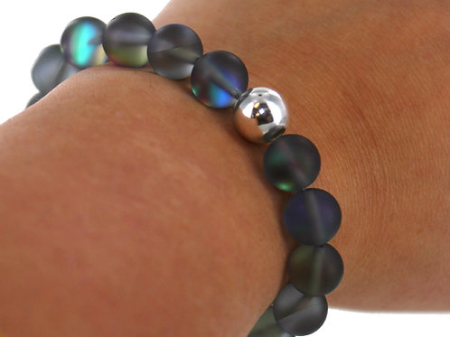 Grey multi tone Australian frosted crystal Glass bead bracelet