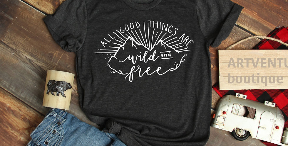 Wild and Free | hand designed and screen printed | T-shirt