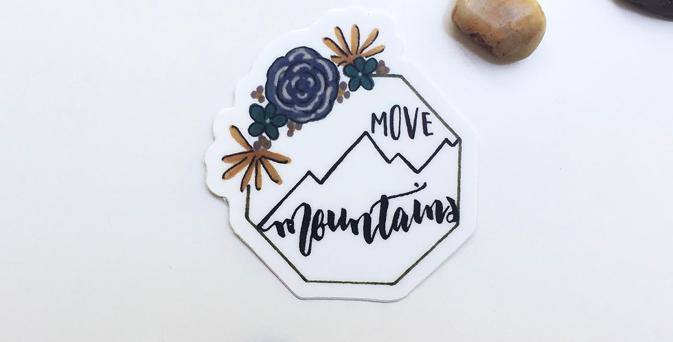 """Move mountains"" sticker"