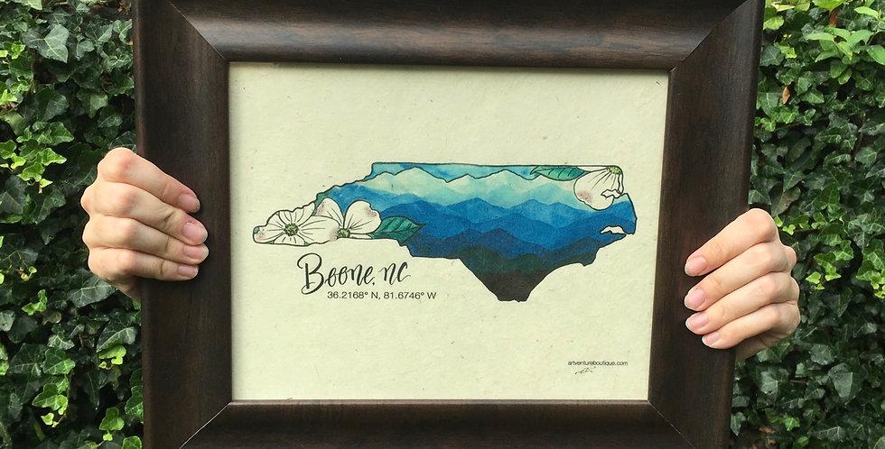 Boone print on handmade paper
