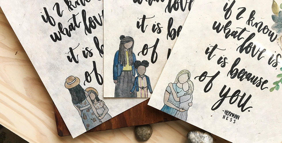Mother & Daughter Print on Handmade Paper