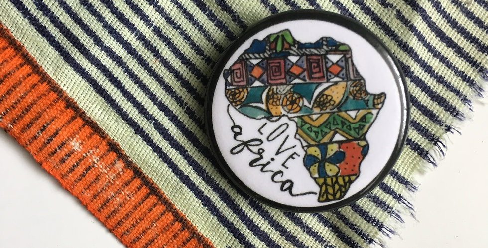 "Hand Drawn ""love Africa"" pin"