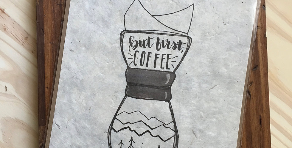 Coffee print on handmade paper