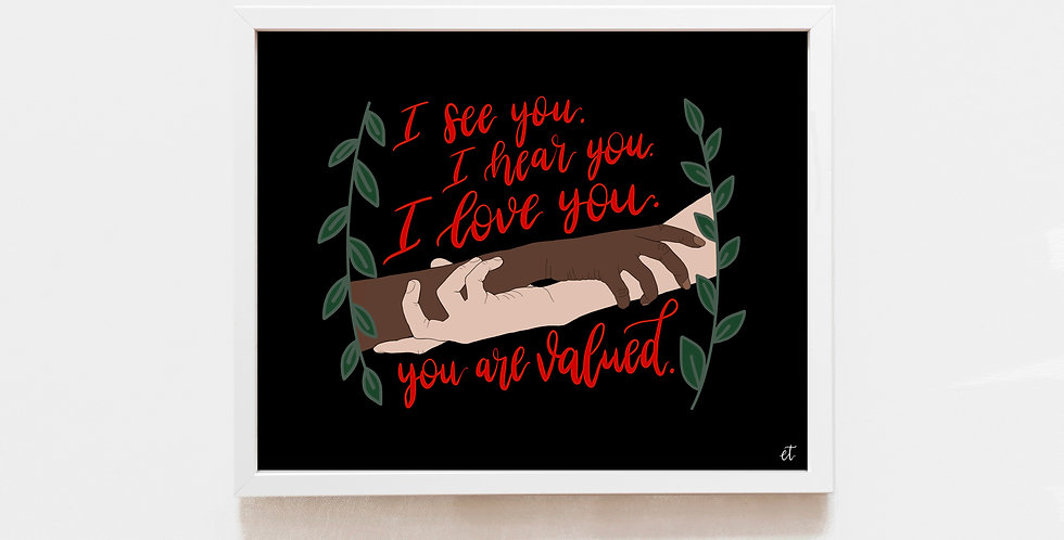 "8x10 ""You are Valued"" Print"
