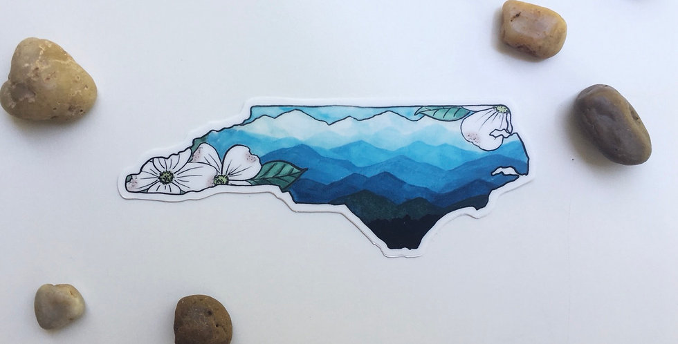 Watercolor NC mountain/dogwood sticker