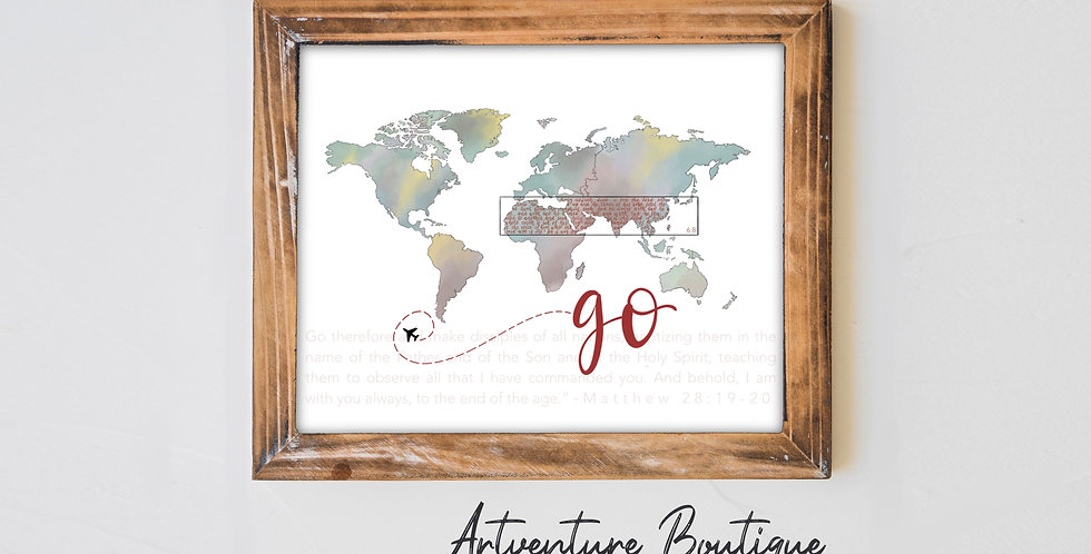 8x10 Missions World Map