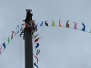 Bunting on the crane at Sark Shipping's anniversary celebrations