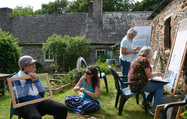 Tapestry weaving and other crafts outside the Cider Barn