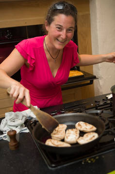Shakira Christodoulou making fresh pittas at the Homemade-Halloumi and Greek Lunch Favourites day