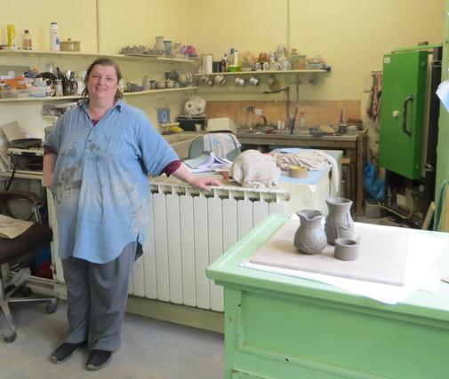 Lorraine Nicolle at her Pottery Studio
