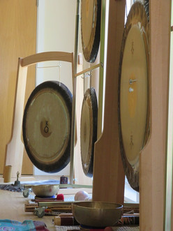 Gongs all set up for Sabine Lovelight's Gong Immersion