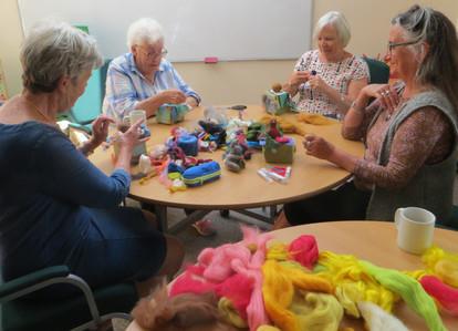Hilary Charlesworth teaching Felt-making at the Sanctuary Centre