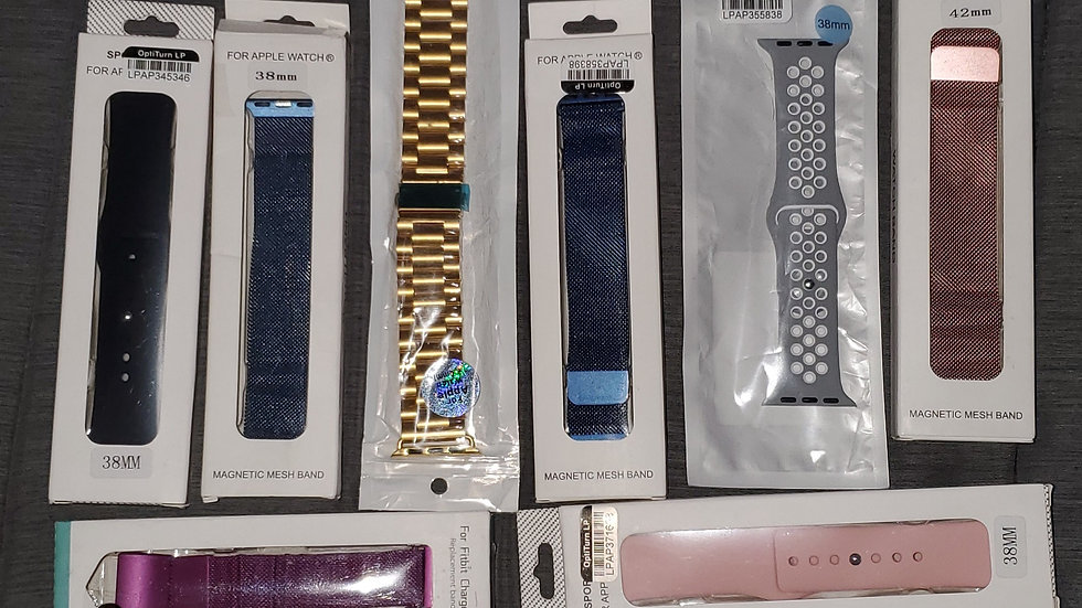 Many different Apple watch bands