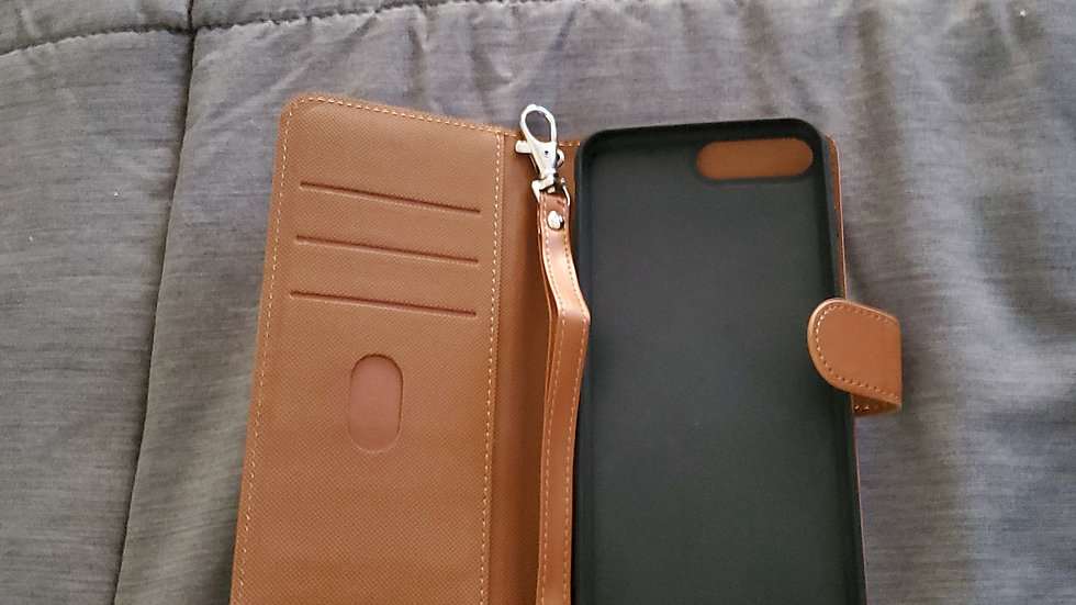 iPhone 7 plus /8 plus brown leather purse case