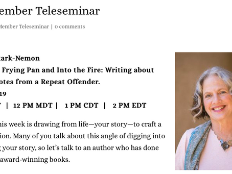 National Association of Memoir Writers Teleseminar- May 17