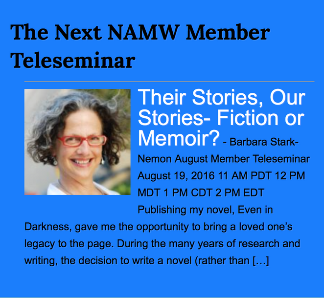 National Association of Memoir Writers Teleseminar- August 19