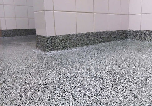 black white gray flake floor with cove (