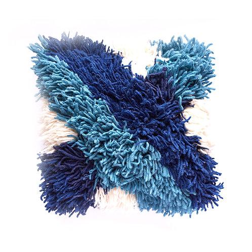 wave blue wool pillow