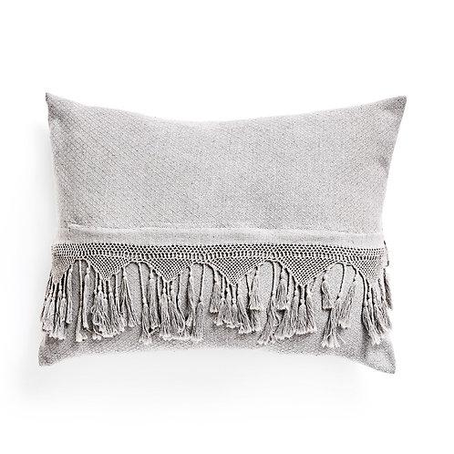tassel fringe pillow stone