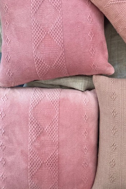 Woven Cotton pillow- pink coral