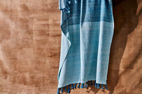 Blue block cotton blanket