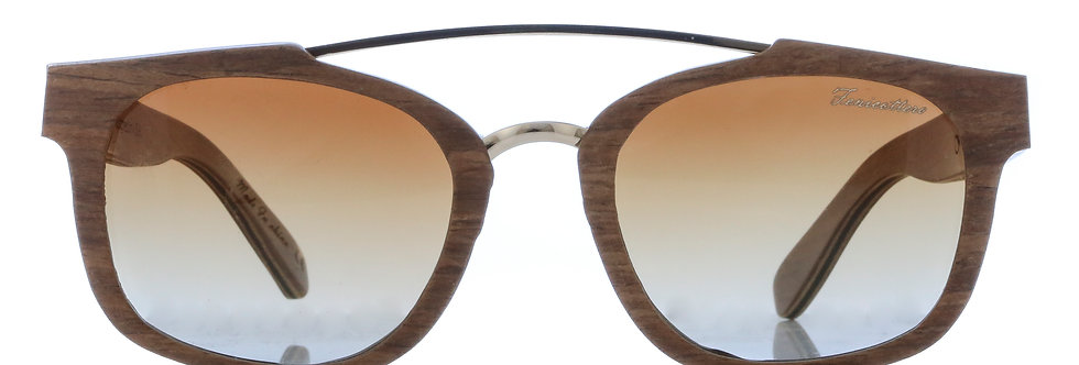 Laminated wood with double metal bridge + brown gradual lens