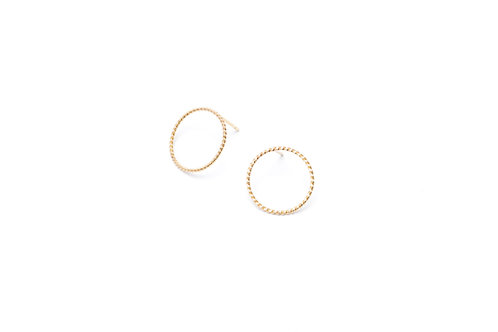TRECCIA Gold Earrings - Large Circle
