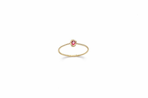 TRECCIA Gold Ring with Ruby