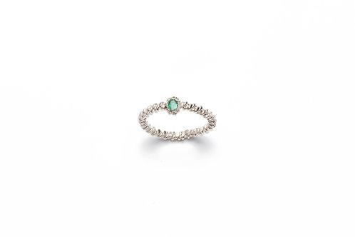 Anello TRECCIA in Argento con Smeraldo