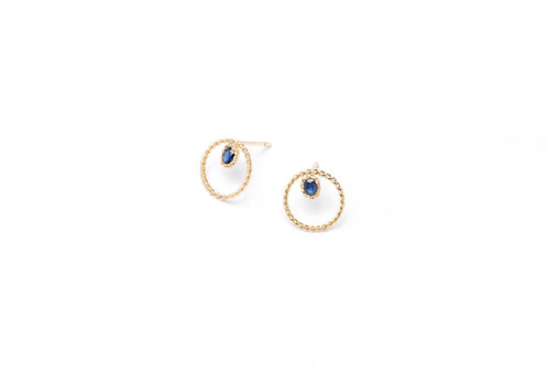 TRECCIA Gold Circle Earrings with Sapphires