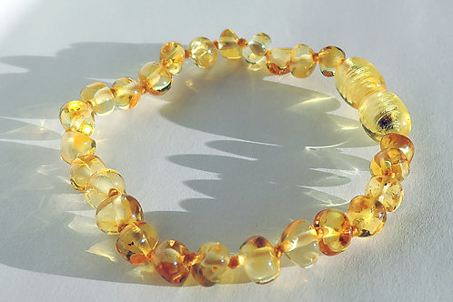 Sparkling Honey Baroque Baltic Amber anklet/bracelet 14.5cm