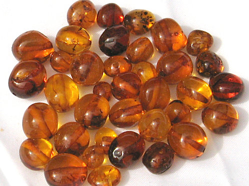 45 x Baltic Amber Baroque Cognac Beads