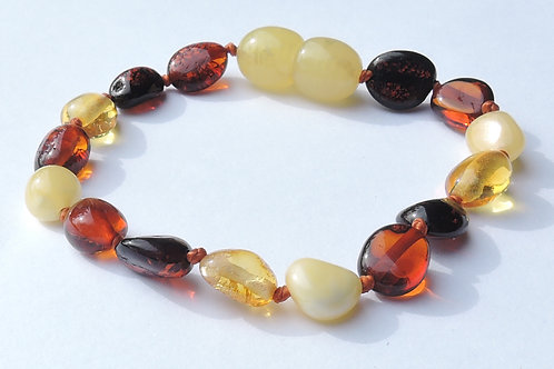 Multicoloured Amber Anklet/Bracelet 14.5cm