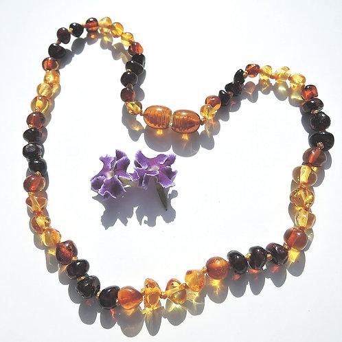 Baltic Amber Rainbow Baroque necklace 33cm