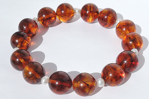 Round Amber beads and Pearls bracelet