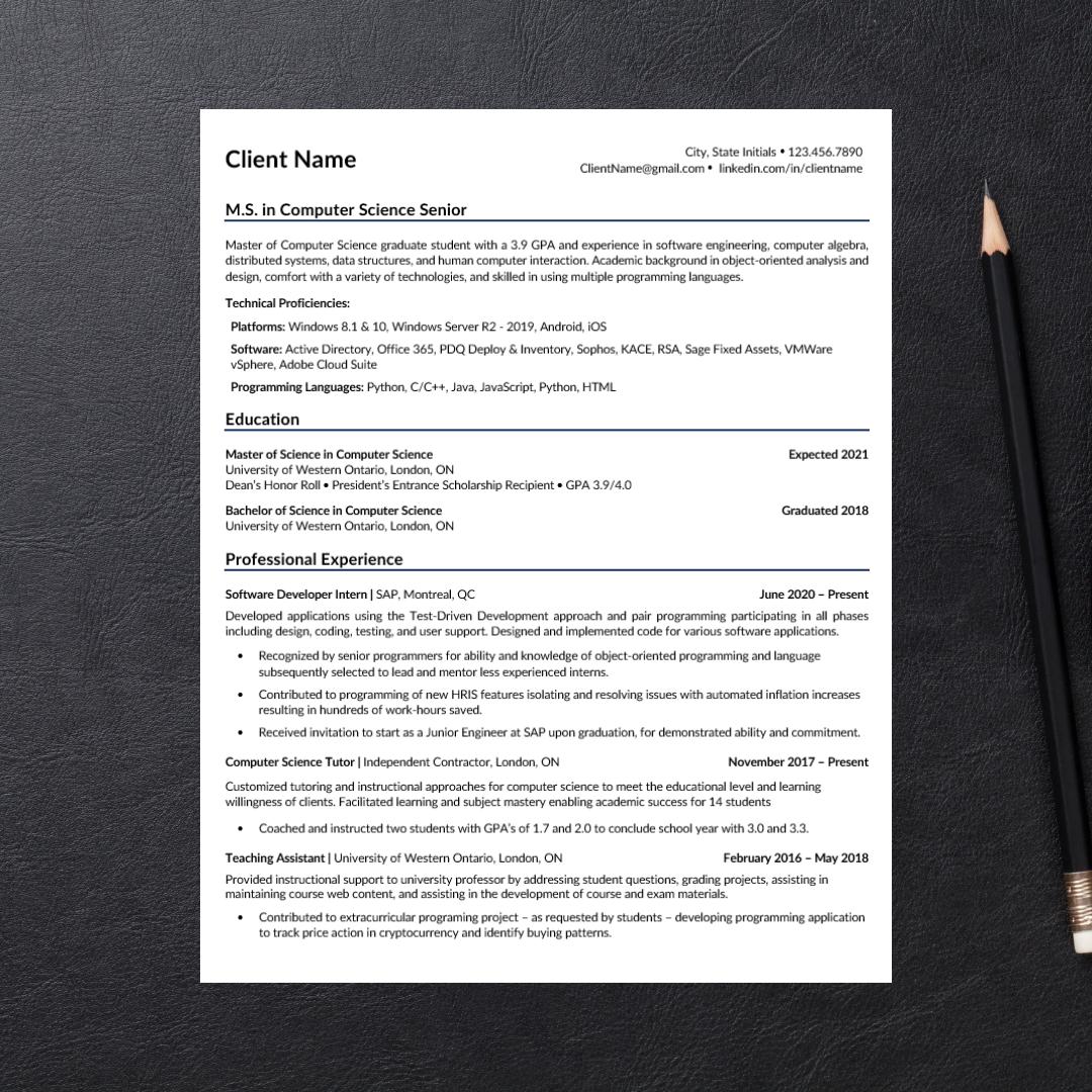 Computer Science Graduate Student Resume