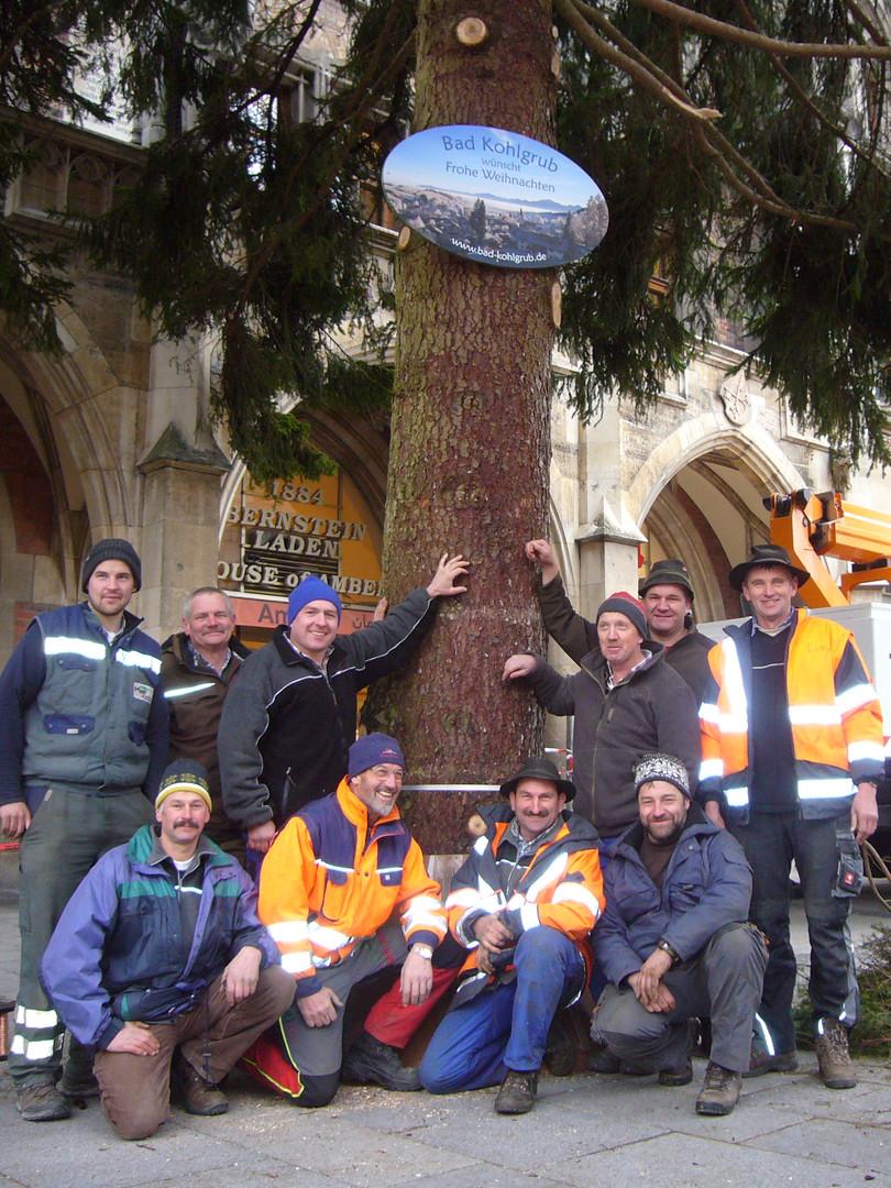Helfer beim Aufstellen des Baums