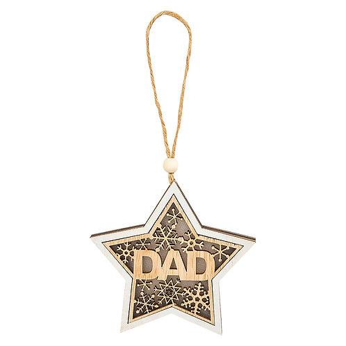 "Holiday Ornament4"" Wood - Star - DAD"