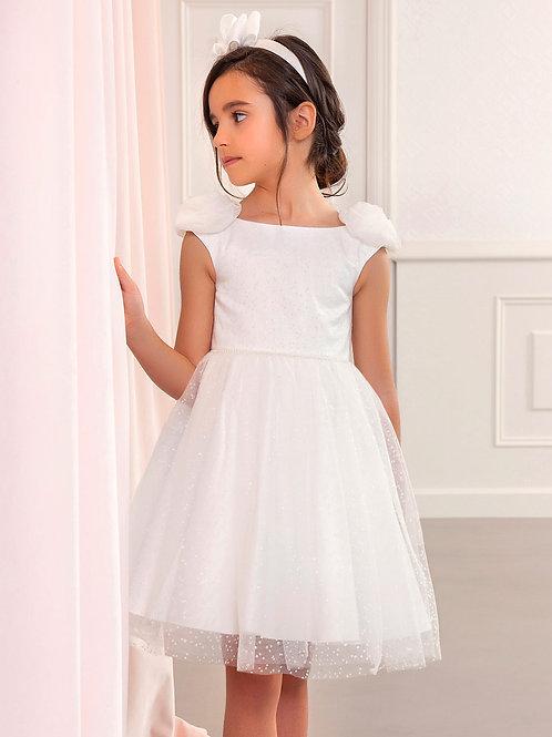 Bílé Frost tylové šaty s třpitkami