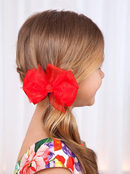 Dvojtý klip do vlasů červený