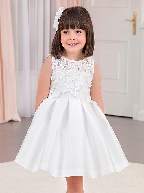 Bílé Mikado šaty s výšivkou