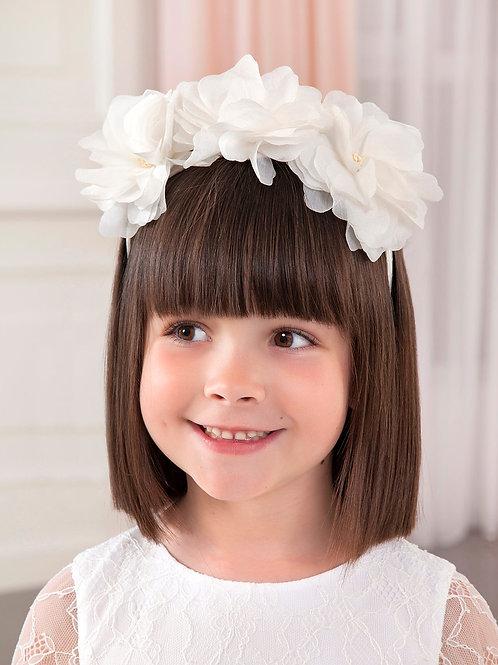 Květinová čelenka bílá