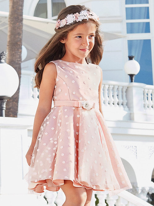Růžové Mikado šaty s bílými puntíky