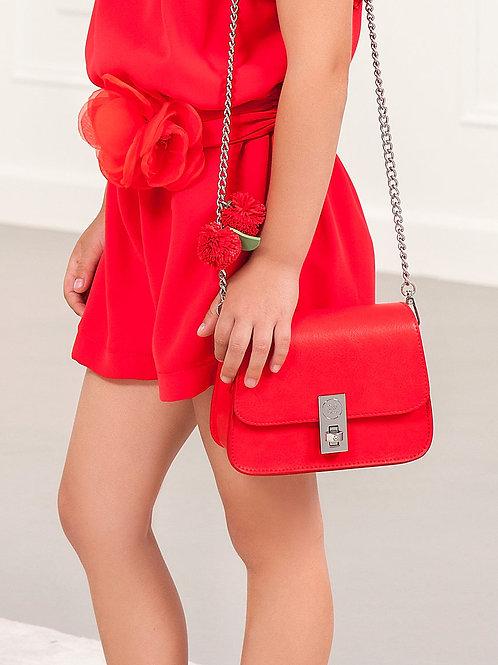 Kožená kabelka s kytičkou červená