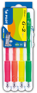 3131910551669 Pilot G2 Neon Colours 4 Piece Set2Go - Yellow, Pink, Orange, Green