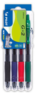 3131910551652 Pilot G2 4 Piece Set2Go - Black, Blue, Red, Green