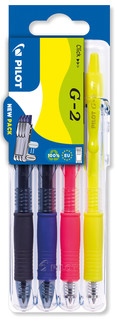 3131910551676Pilot G2 4 Piece Set2Go - Black, Blue, Neon Pink, Neon Yellow