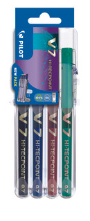 3131910573487 Pilot V7 4 Piece Set2Go - Black, Blue, Red, Green